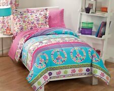 NEW Peace Signs Multicolor Girls TWIN or FULL Bedding Comforter Sheet Set