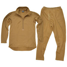 New ECWCS Thermal Underwear Coyote Khaki All Sizes Top and Bottom Fleece Zipped