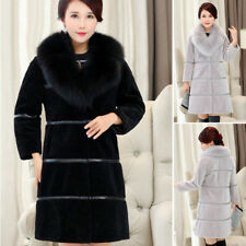 Luxury Womens Warm Winter Lambs wool Coat Collar Long Fur Slim Fit Coat Outwears