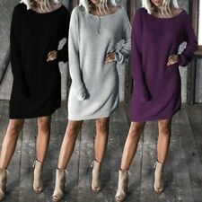 Women Solid Color Long Sleeve Round Neck Batwing Casual Loose Dress Knee Length
