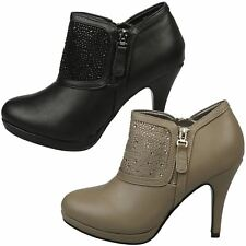 WOMENS SHOES LADIES HIGH HEELS STILETTOS BOOTIES ANKLE BOOTS DIAMANTE SIZE NEW