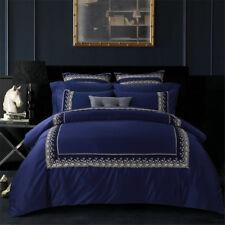 Navy Quilt Cover Satin Queen/King Size Duvet Doona New Bed Set Luxury Embroidery