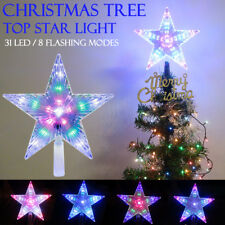 Multi Color Changing LED Santa Tree Topper Star Lights Xmas Christmas Decoration