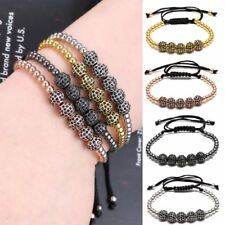 Fashion Micro Pave Crystal Charm Beads Braided Adjustable Men Bracelet Jewelry