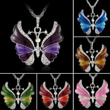 Women Silver Rhinestone Butterfly Crystal Chain Charm Pendant Necklace Jewelry