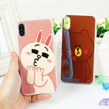 Cartoon Cute Rabbit Bear For iPhone X 6 6s 7 8 Plus TPU Soft Phone Case Cover