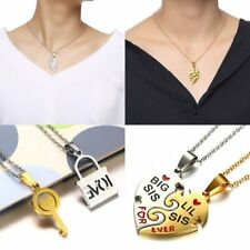 His and Her Stainless Steel Gold Sliver Heart Key Lock Couple Pendant Necklace