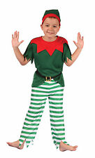 Boys Girls Elf Costume Red Green Fancy Dress Santas Helper Outfit New Age 4 6 8