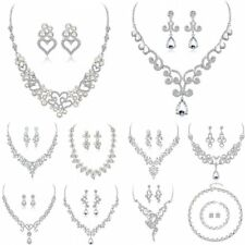 Women Wedding Bridal Rhinestone Crystal Earrings Necklace Pendant Set Jewelry