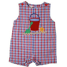 Cute Petit Ami Red Blue Plaid Baby Boy Shortall Romper w/Sand Pail, Cotton Blend