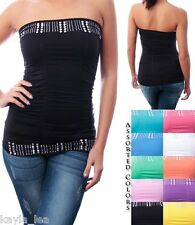 Full Length Ruched Stud/Rhinestone Embellished Bands Tube Top OS~ *8 Colors*
