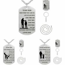 Men Silver Stainless Steel Dog Tag Engrave Letter Pendant Necklace Keychain Gift