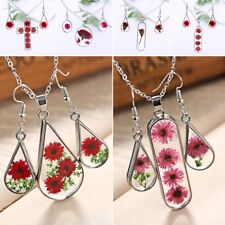 Natural Dried Flower Rose Glass Drop Pendant Necklace Earrings Jewelery Set Gift