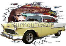 1955 Yellow Chevy Bel Air H T Custom Hot Rod Diner T-Shirt 55 Muscle Car Tee's