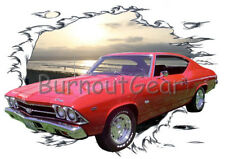 1969 Red Chevy Chevelle a Custom Hot Rod Sun Set T-Shirt 69 Muscle Car Tees