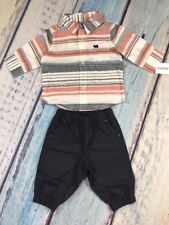 Carters Baby Boy NWT 2 Pc. Set Newborn  3 MO. Striped Shirt And Navy Blue Pants