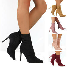 Women Zipper Ankle Boots Ladies Suede Stiletto High Heel Pointed Toe Shoes Size