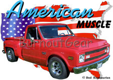 1969 Red Chevy Pickup Truck b Custom Hot Rod USA T-Shirt 69 Muscle Car Tees