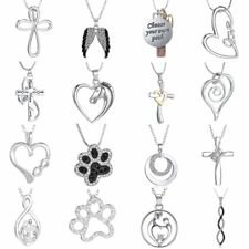 Fashion Crystal Love Horse Paw Heart Cross Pendant Necklace Unisex Jewelry Gift