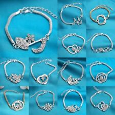 Women Silver Plated Crystal Snake Chain Bangle Bracelet Lady Party Jewelry Gift