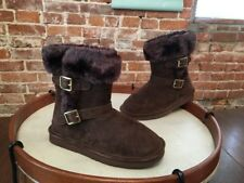 LAMO Dark Brown Suede Ankle Strap Faux Fur Cresson Pull on Boots NEW