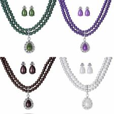 Women Fashion Crystal Pearl Wedding Bridal Necklace Earrings Jewelry Set Gift