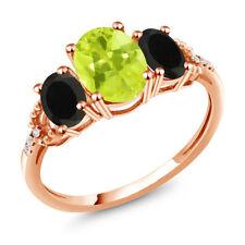 1.92 Ct Oval Yellow Lemon Quartz Black Onyx 10K Rose Gold Diamond Accent Ring