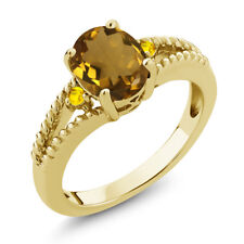 1.46 Ct Oval Whiskey Quartz Yellow Sapphire 18K Yellow Gold Plated Silver Ring
