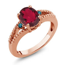1.85 Ct Oval Red Mystic Quartz Blue Diamond 18K Rose Gold Plated Silver Ring