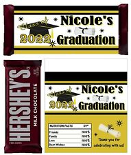 BLACK AND GOLD GRADUATION FAVORS CANDY BAR WRAPPERS HERSHEY BAR WRAPPERS