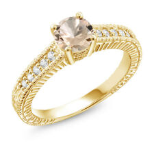 0.75 Ct Round Peach Morganite 18K Yellow Gold Plated Silver Ring