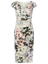 New Phase Eight Floral Carla Ruched Multi-coloured Dress Sz UK 10