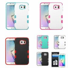 Shockproof Hybrid Rubber Hard Cover Case For Samsung Galaxy S6 Edge  + LCD Film