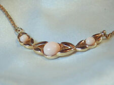 Dainty Gold Tone AVON Soft Pink Lucite Vintage 1970's Very Sweet Necklace 237F8
