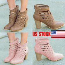 US Womens Hollow Out Sandals Block Mid High Heels Ankle Boots Zip Up Shoes Size