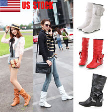 US Womens Round Toe Mid Calf Knee High Boots Hidden Heel Wedge Casual Shoes Size