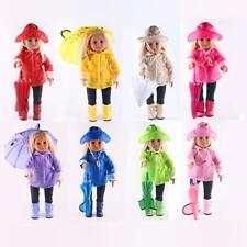Doll Raincoat Pants Boots Hat Umbrella Outfit Set for 18'' American Girl Dolls
