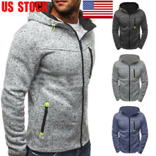 Men Sweater Hoodie Sweatshirt Hooded Coat Jacket Zip Jumper Pullover Outwear Top