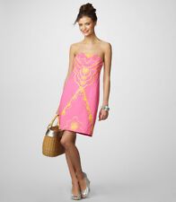 $268 Lilly Pulitzer Bowen Hotty Pink Embroidered Strapless Dress