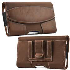 Leather Belt Clip Luxmo Pouch Holster Phone Holder Horizontal #19 Brown
