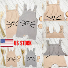 USA Baby Newborn Kids Clothes Sleeveless Rabbit Pattern Gray Pink Suit Bodysuit