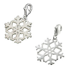 925 Sterling Silver Snowflake Dangle Bead for European Lobster Clip on Charm