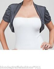Slate Gray Cropped Short Sleeve Open Front Bolero/Shrug/Cardigan S