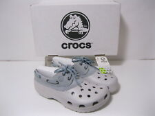 CROCS ISLANDER LEATHER UPPER LACE UP UNISEX PEARL WHITE / LIGHT BLUE M5&6 W7&8