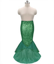 Sexy Women's Party Costume Sequins Long Tail Skirt With Asymmetric Mesh Panel