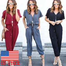 Women Summer Short Sleeve Casual V Neck Jumpsuit Solid Long Pants Romper Outfits