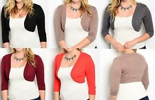 3/4 Sleeve Open Front Cropped Bolero/Shrug/Cardigan Plus Top * 5 Colors *