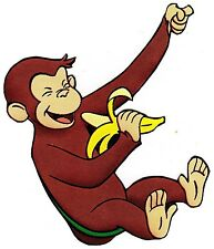 "5.5""-9"" Curious george monkey swing wall safe sticker border cut out character"