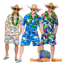 Hawaiian Party Guy Shirt & Shorts Hawaii Stag Do Party Mens Fancy Dress Costume