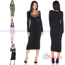 Ladies Evening Party Bodycon Long Sleeve Scoop Neck Fitted Midi Dress FM28